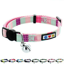 Adjustable Pet Soft Cat Collar with Bell & Safety Buckle Multicolor by Pawtitas