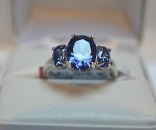 3Ct Oval Cut Blue Sapphire Three-Stone Engagement Ring 14K White Gold Finish