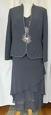 Jacques Vert 2 in 1 KIR GREY JACKET TROUSERS  CHIFFON TOP SKIRT IVORY EMBROIDERY