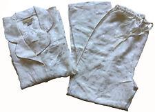 SHANGHAI TANG Women's Ivory Cream 100% Silk Jacquard Pajamas - Size L - NWOT