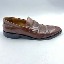 Cole Haan Mens Dress Penny Loafer Shoes Brown Apron Toe Slip Ons C07514 10 M