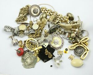 Vintage mixed lot costume jewellery brooches cufflinks ring etc some repair