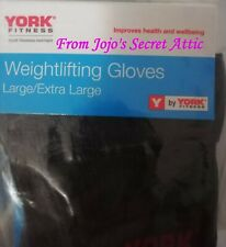 1 Pair York Fitness Black Weightlifting Gloves Extra Large/Large Size New