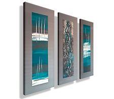 ORIGINAL Leinwandbild HANDGEMALT Abstrakt modern XXL Bilder Acrylbild Türkis