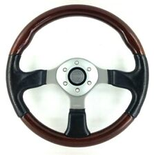 Genuine Momo Zebrano Fighter 350mm mahogany wood and leather steering wheel.  7C