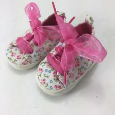 Baby Koala Shoes Baby Girl Size 1 (0-3 Months) Pink White Floral Ribbon