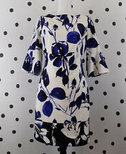 Vince Camuto Womens Scuba Sheath Dress Size 6 Floral White Blue Bell Sleeve New