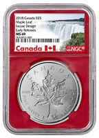 2018 Canada 1 oz Silver Maple Leaf - Incuse $5 NGC MS69 ER Red SKU52140