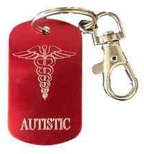 Personnalisé Autistic Sos Medical Alert Rouge Porte-Clé Gravé Gratuit