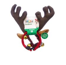 HOLIDAY Combo Antler/Bell Collar for Dog - M - L - holiday party & pictures