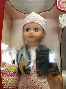 "Gotz Doll Precious Day Girl 18"" Blonde with Blue Sleeping Eyes New in Box"