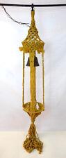 Vtg Retro Brown Rope Macrame Light Lamp Hippy Fringe Woven Hanging Plant Holder