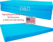 "Queen Size Turquoise Trifold Floor Foam Beds 4""x60""x80"" Foldable Ottoman Bed"