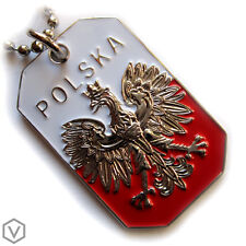 POLAND FLAG POLISH WHITE EAGLE POLSKA CREST PENDANT DOG TAG ARMY CHAIN NECKLACE