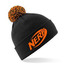NERF GUN - Embroidered Beechfield Snowstar Beanie Hat MENS/KIDS BLACK & ORANGE