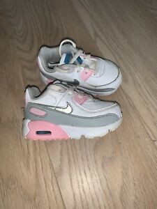 Baby Girl Nike Air Max 90 Lace Trainers- Size 4.5 White, Pink & Grey!