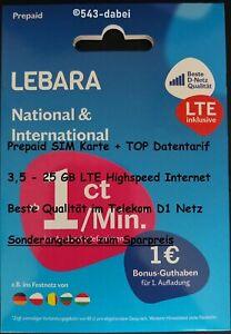 Lebara Prepaid SIM Karte aktiv aktiviert registriert mit Daten-Tarif - ANGEBOT