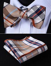 BC903ZS Beige Brown Check Bowtie Men Silk Self Bow Tie handkerchief set