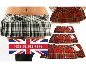 Stylish Women,s Girls Micro Mini Hipster Tartan Kilt Side Zip Pleated Skirt,s Le