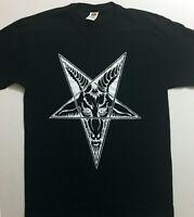 BAPHOMET Goat Head T Shirt Satanic Clothing Pentagram Black metal EVIL GIFT S-XL