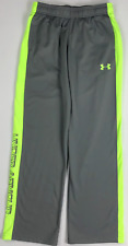 Boy's Youth Under Armour Loose Fit Athletic Pants Gray/neon Green Regular XL