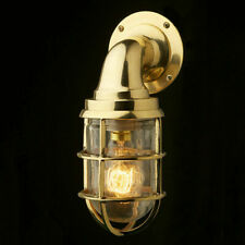 Nautical Marine Wall Light Vintage Retro Cage Bulkhead Old Brass Ship Lamp