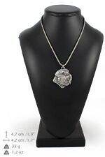 Bouvier - silver plated necklace with a dog on silver chain, Art Dog Usa