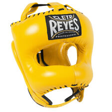 Cleto Reyes Traditional Leather Boxing Headgear with Nylon Face Bar - Yellow