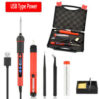 9Pc Soldering Iron Kit Electronics Welding Irons Tool Adjustable Temperature USB