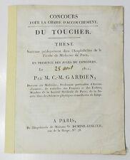 *** RARE ! DU TOUCHER - PAR M. C.-M. GARDIEN - CHAIRE D'ACCOUCHEMENTS (CONCOURS)