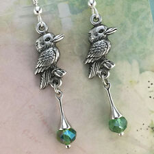 Australian Kookaburra Souvenir Earrings with Green Crystal Australiana Gift
