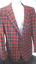 Pendleton 100% Virgin Wool Red Plaid Sports Coat Blazer 2 Button Made In USA 37