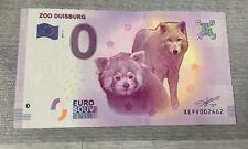 """BILLET DE 0 EURO NEUF 2017 """" Zoo Duisburg """" EURO SOUVENIR."""