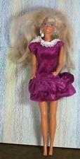 Mattel Barbie Doll deep pink velvet dress white lace collar long blonde hair