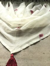 """CREAM/WINE SQUARE SWAG +FITS WINDOWS UP TO 24"""" WIDE+READY TO HANG+PRICED TO GO+"""