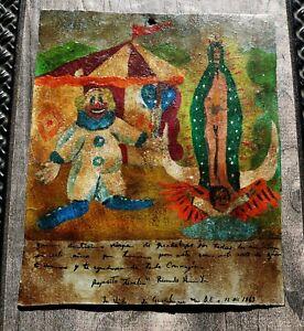 "Ex-Voto, Retablo on Tin (1960s) Clown, Our Lady of Guadalupe 6 5/8"" x 8""h"