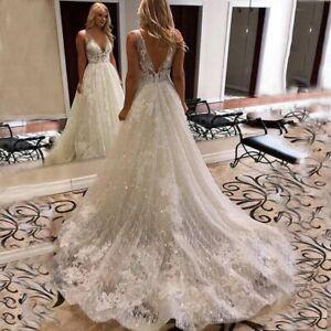 Beach Wedding Bridal Gown Dresses A Line V Neck Open Back Sleeveless Shiny Tulle