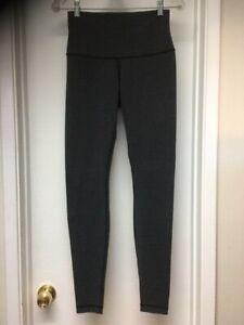 Lululemon Gray Wunder Under Pant Cotton Roll Down Long Pants Leggings Sz 8 ? EUC
