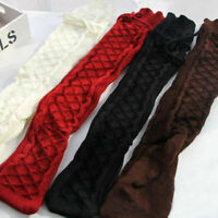 Warm knee Leggings Long High Winter Cable Thigh Knit Women's Boot Over Socks
