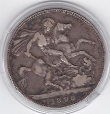 1896    Queen  Victoria  Large  Crown / Five Shilling  Coin