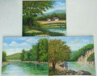 Landscape Painting Oil on Canvas 20 x 24 by Eusebio Vidal, 2006, Signed Set of 3