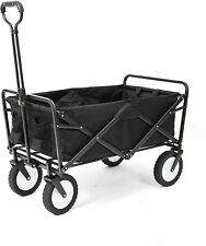 Shopping Basket Folding Cart On With Wheels Outdoor Utility Wagon Black New
