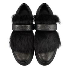 NEW, MONCLER BLACK FUR TONGUE SNEAKERS, 39, $895
