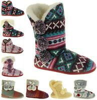 Womens DUNLOP Knitted Faux Fur Comfy Warm Slipper Boots UK Size 3-4, 5-6, 7-8