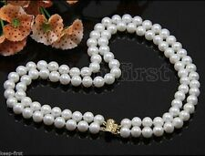 Fashion 2Rows 7-8mm Natural White Akoya Fresh water Cutured Pearl Necklace AAA