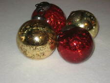 Kugel Style Crackle Heavy Mercury Glass Christmas Ornament Lot of 4 Red Gold
