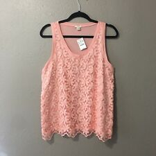 NWT J. Crew Womens Size Medium Lace Front Tank Top Sleeveless Peach casual Top
