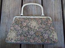 Vintage Antique Floral Tapestry Purse Handbag Metal Clasp Frame Bakelite Handle?