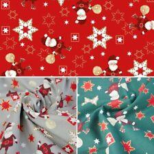 100% Cotton Fabric Christmas Santa Snowflake Festive Xmas Festive 140cm Wide