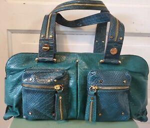 Jessica Simpson Large Green Vegan Pebble Leather Handbag /Satchel /Tote